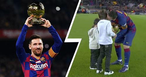 Cutest thing you'll see today: Messi's three sons serve their father his 6th Ballon d'Or