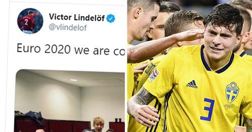 Victor Lindelof celebrates Sweden sealing Euro 2020 spot