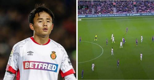 Scenes: 'Japanese Messi' nutmegs real Messi at Camp Nou
