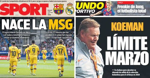 'MSG is Born' and 'the total' Frenkie de Jong: Monday's front-page headlines from Spanish press