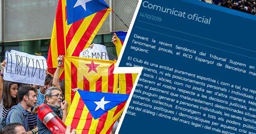 Barca's city rivals Espanyol show no solidarity with jailed Catalan politicians
