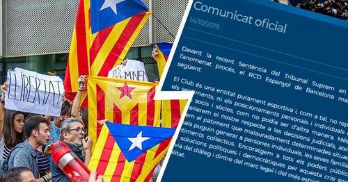 Les rivaux de la ville du Barca, Espanyol, ne manifestent aucune solidarité avec les hommes politiques catalans emprisonnés